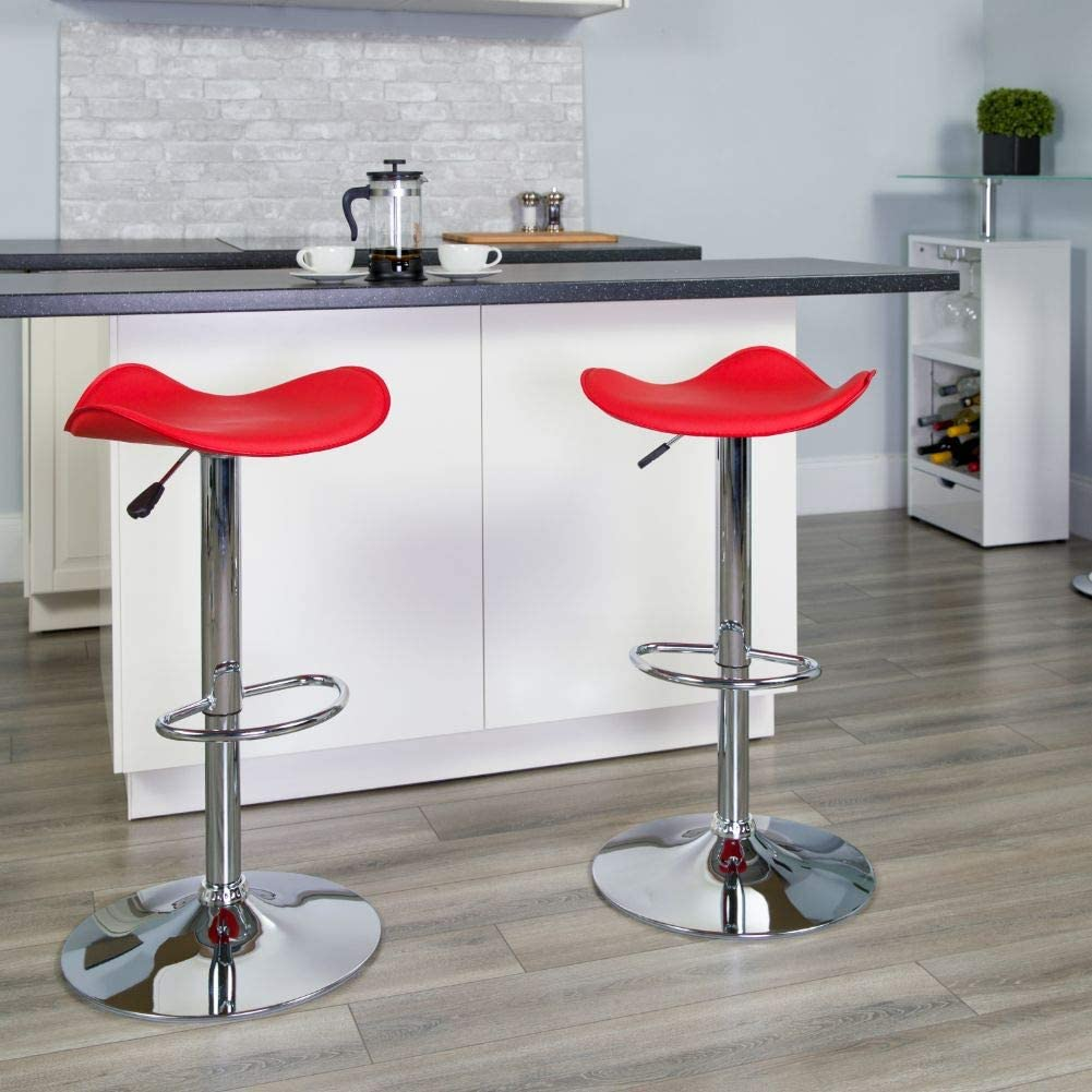 Flash Furniture 2 Pk. Contemporary Red Vinyl Adjustable Height Barstool with Wavy Seat and Chrome Base