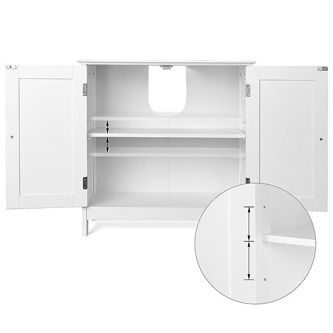 Homfa 2 Estantes Mueble para Debajo del Lavabo Armario para Cuarto de Baño Blanco, Madera contrachapada, 60x60x30CM