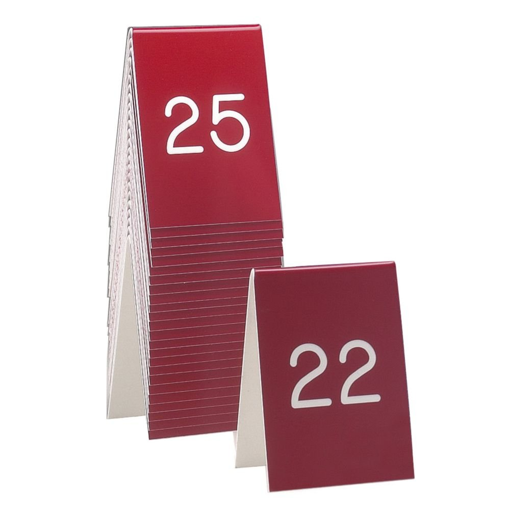 Cal-Mil 271C-1 Engraved Number Tent, Sets - #51-75, 3.5'' W x 1'' D x 5'' H, Red
