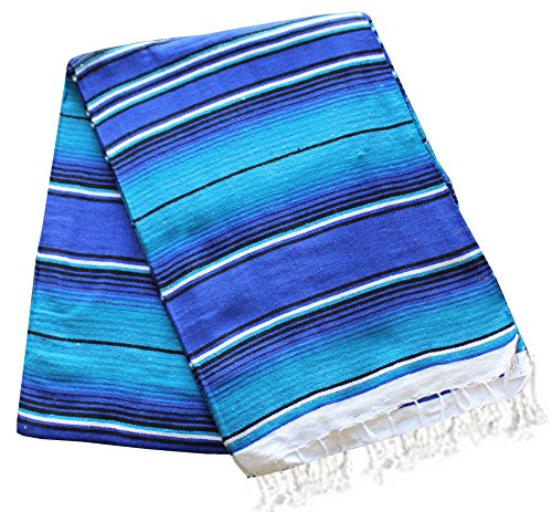 Del Mex X-large Mexican Serape Beach Blanket Two Tone Blue Turquoise 2 Tone Blanket