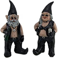 Gnoschitt and Gnofun Pair of Biker Garden Gnomes Statue Motorcycle Leather 8 Inc