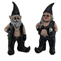 Gnoschitt and Gnofun Pair of Biker Garden Gnomes Statue Motorcycle Leather 8 Inc