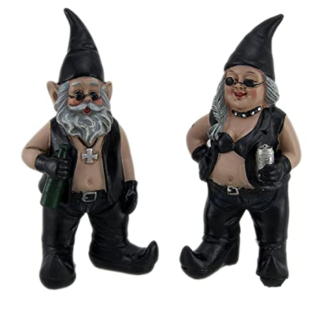 Gnoschitt And Gnofun Pair Of Biker Garden Gnomes Statue Motorcycle Leather  9 Inc