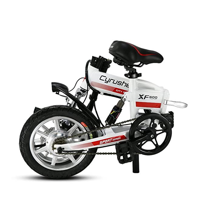 Cyrusher® XF600 Bicicleta Eléctrica Blanco naranja 240W 36V Bicicleta de Viaje Bicicleta Batería de Litio Bicicleta Plegable Suspensión Completa Frenos de ...