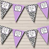Black White Lilac Animal Print Personalized Birthday Party Bunting Banner