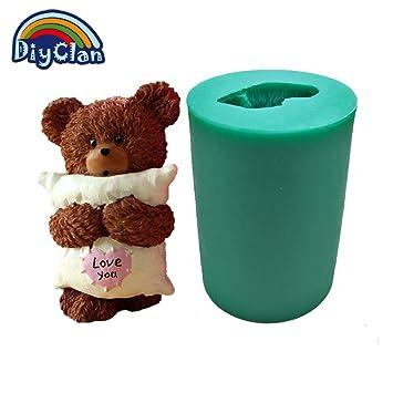 3d oso de peluche grande Boy Gril almohada forma Animal para hacer velas molde de silicona para decoración de pasteles jabón forma yeso resina molde s0013 X ...