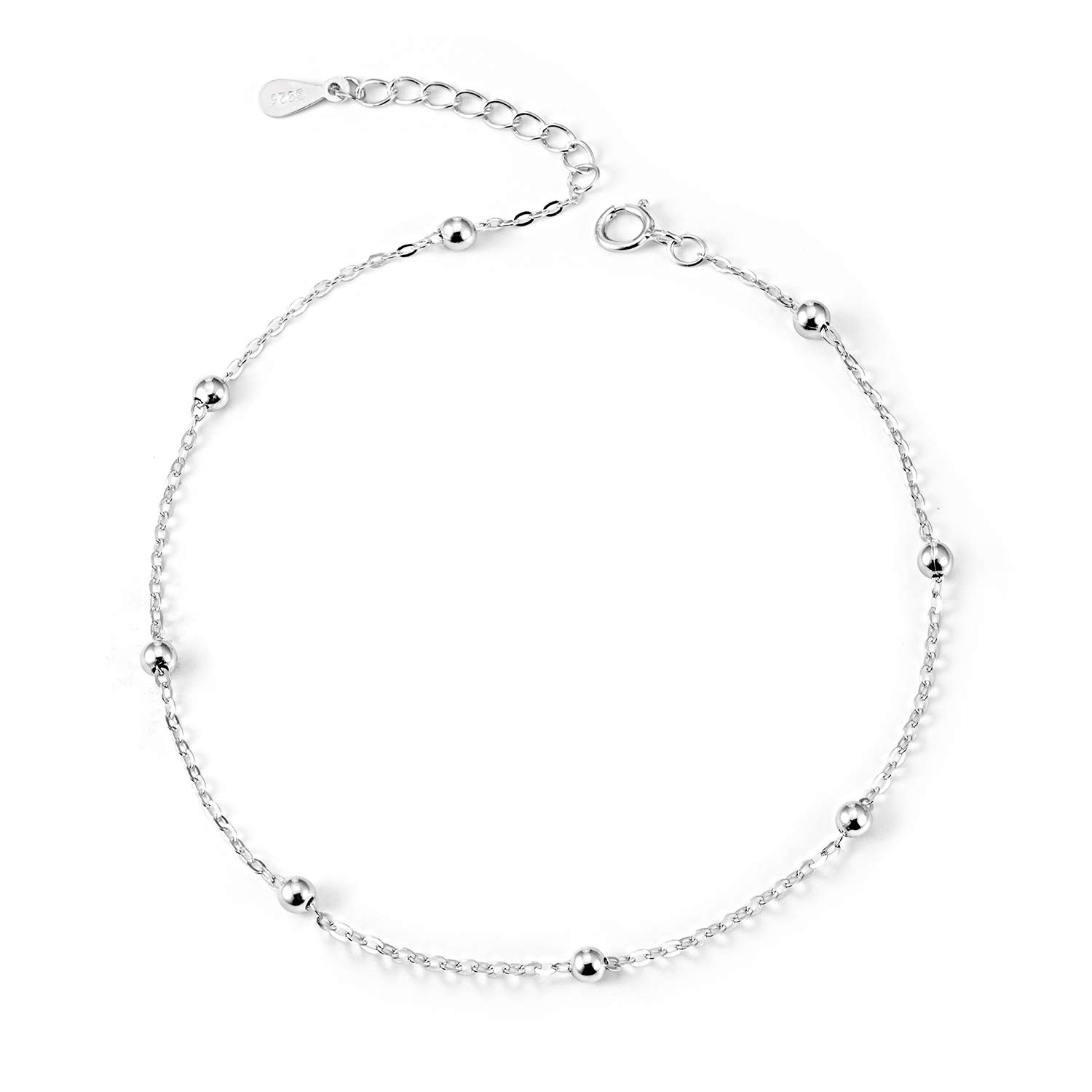 S925 Sterling Silver Anklet for Women Girl 18K White Gold Plated Cable Chain Bracelets Adjustable Beach Style Foot Ankle Jewelry Gift