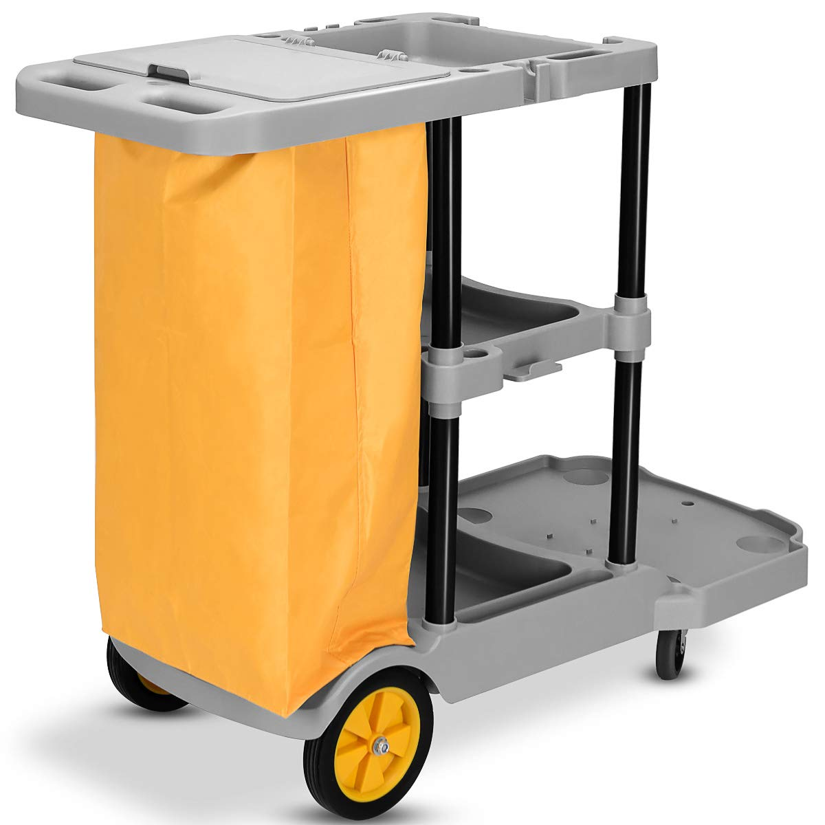 Goplus Commercial Janitorial Cart Heavy Duty Cleaning Utility Cart Service Cart 3 Shelf Housekeeping Rolling Janitor Cart with 25 Gallon Vinyl Bag, 330lbs Capacity