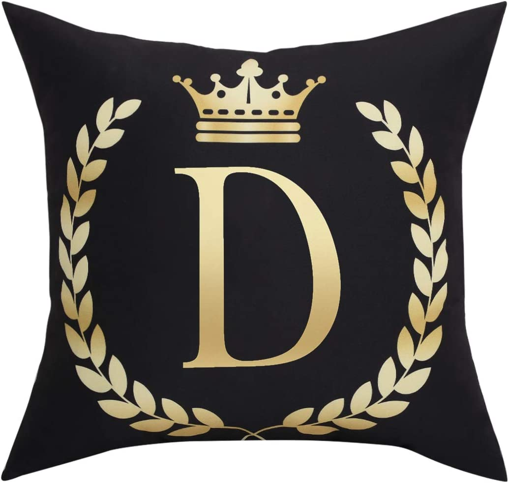 Black Pillow Cover Throw Pillow Case English Alphabet D Throw Pillow Case Modern Cushion Cover Square Pillowcase Decoration for Sofa Bed Chair Car 18 x 18 Inch