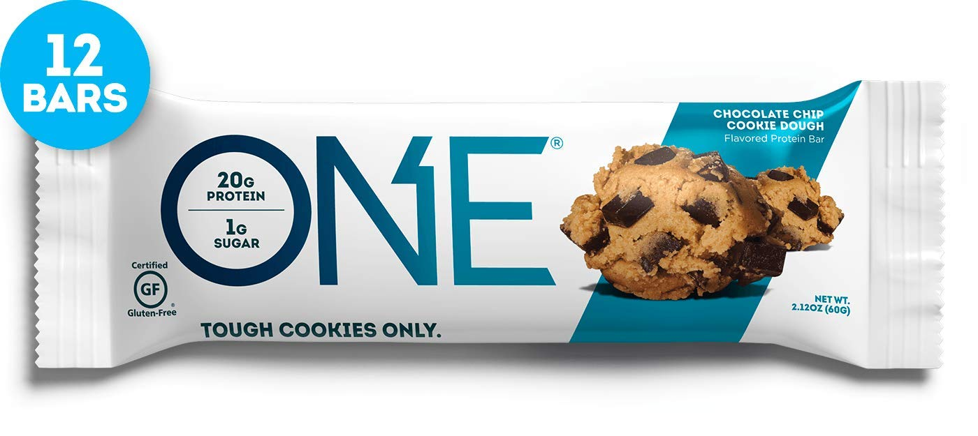 ONE Protein Bars, Chocolate Chip Cookie Dough, Gluten Free Protein Bars with 20g Protein and only 1g Sugar, Guilt-Free Snacking for High Protein Diets, 2.12 oz (12 Pack) by ONE
