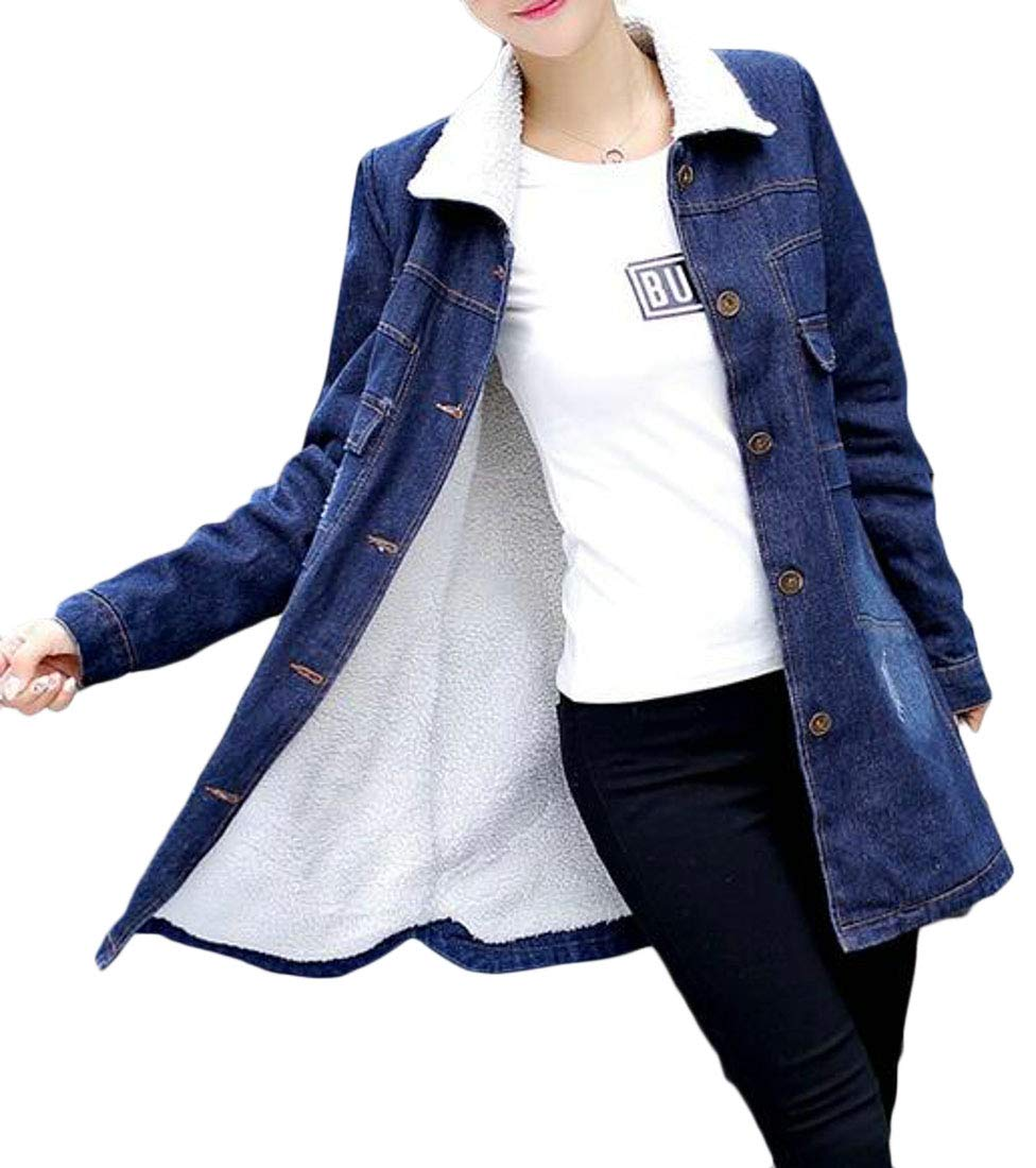 BYWX Women Fleece Lined Thick Warm Coats Mid Length Denim Trench Coat