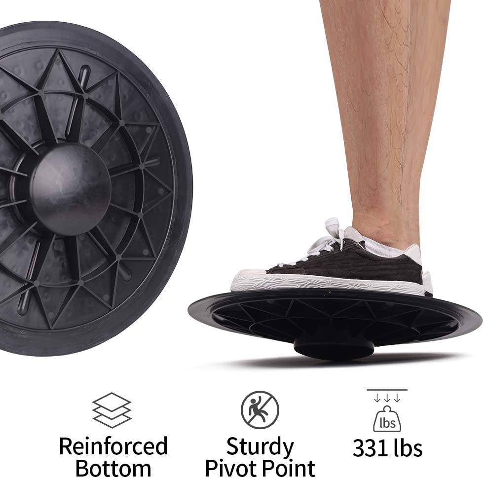 Homevibes Plastic Balance Board – Wobble Board Trainer for Exercise, Standing Desk and Physical Therapy – Rotational Exercises Provide A Full Body Fitness Workout Focusing On Core, Legs, Back