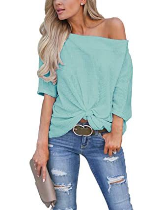 2c104eee25aad7 LACOZY Women's Casual Waffle Knit Tunic Blouse Sexy Off The Shoulder Tops  Knot Batwing T Shirt