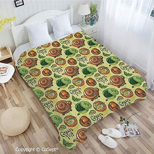 - Soft Flannel Blanket,Green Tea Theme Pattern with Lemon Slices Herbal Leaves Healthy Aromatic Beverage Decorative,Perfect for Camping,Picnic & the Beach with a Waterproof(72.83