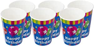 PARTY Happy Birthday Print Cup Set, 854141/6 Multi Color Set of 6
