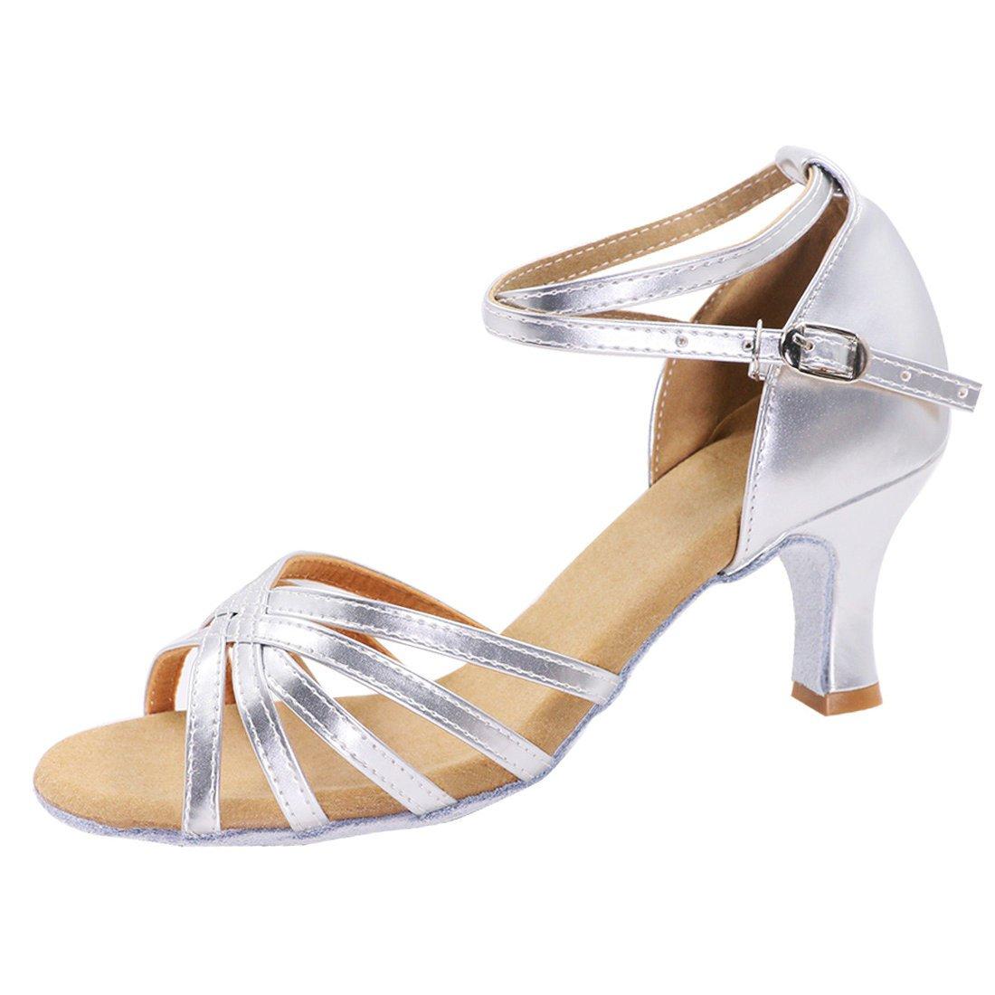 GetMine Women's Professional Latin Dance Shoes Satin Salsa Ballroom Wedding Dancing Shoes 2.4'' Heel Silver