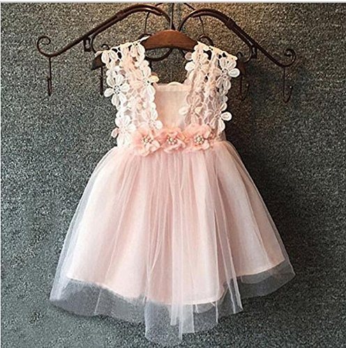 Baby Girls Sleeveless Lace Wedding Vintage Birthday Party Princess Flower Dress 3T(Tag 120) Pink by EGELEXY (Image #2)