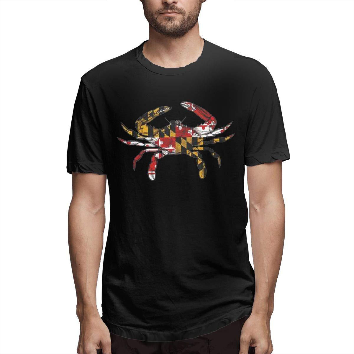 Marsherun Mens Maryland Crab Colorful Logo Comfortable Short Sleeve Tee Shirt