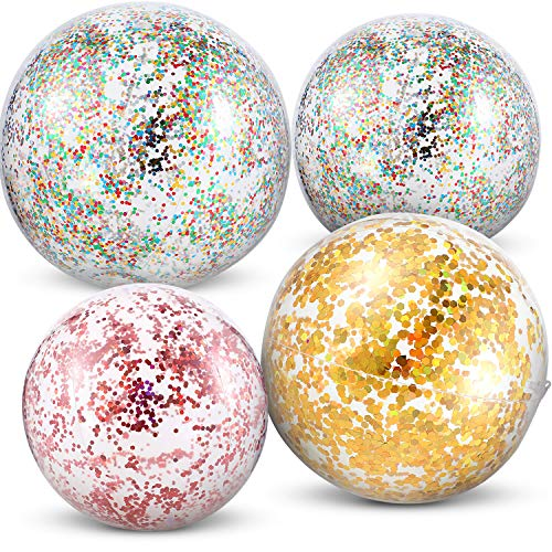 Hsei 4 Pieces Glitter Beach Balls Inflatable Beach Balls Confetti Beach Balls Sequin Pool Balls, 16 Inch and 24 Inch