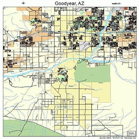 Amazon Com Large Street Road Map Of Goodyear Arizona Az