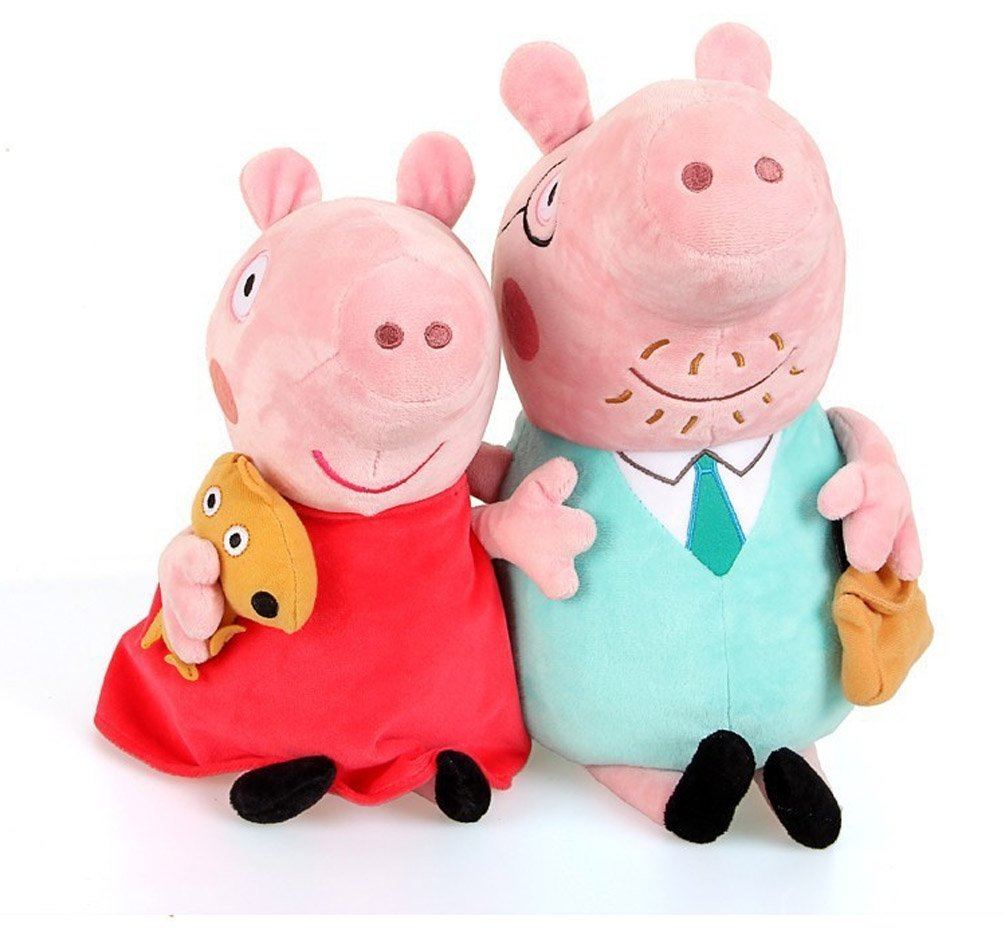 Peppa Pig Set of Four Cute Plush Family Members Daddy Pig and Mummy Pig are 28