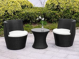 verona 3 piece rattan garden patio furniture vase dining eating picnic table set 2 chair stackable neat tidy beautiful contemporary outdoor living garden