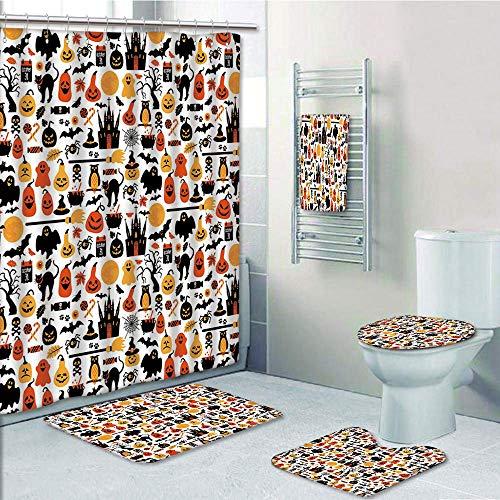 Bathroom 5 Piece Set Shower Curtain 3D Print Customized,Halloween,Halloween Icons Collection Candies Owls Castles Ghosts October 31 Theme Decorative,Orange Yellow Black,Graph Customization