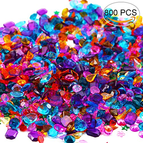 BcPowr 800 PCS Gems Acrylic Colorful Round Treasure for Wedding, Arts & Crafts, Birthday,Vase Fillers,Flatback Rhinestones Gemstone Embellishments Heart Star Square Oval and Round