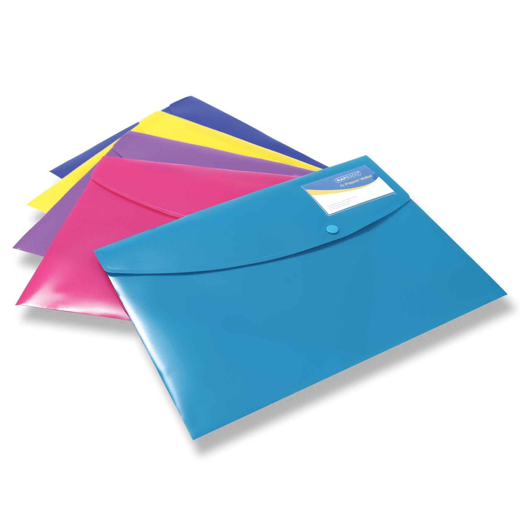 Rapesco documentos - Carpeta portafolios A4+ con soporte para tarjeta, colores sólidos. 5 unidades