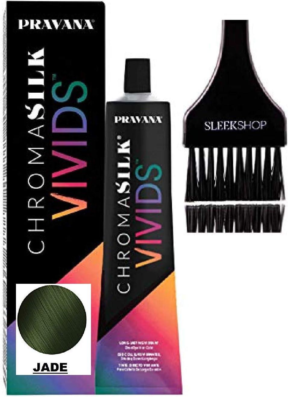 Pravana HenkelPravana ChromaSilk Vivids Cristales para el cabello con seda y queratina, tinte de aminoácidos (con elegante cepillo), Jade, 1.00[set de ...