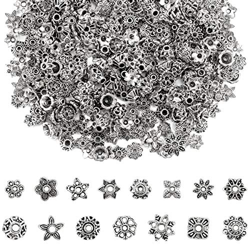 (Apipi 450 Pcs 15 Style Antique Silver Spacer Beads- Mixed Tibetan Rondelle Gear Bicone Flower Metal Alloy Spacers Jewelry Findings Accessories for DIY Bracelet Necklace Jewelry)