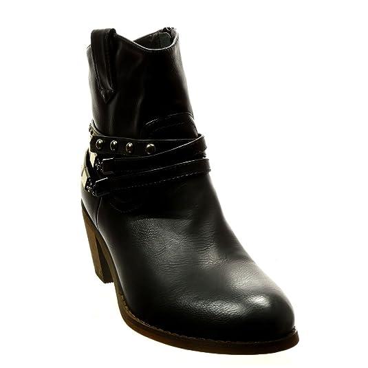 b93e9df3126877 Angkorly - Chaussure Mode Bottine Santiags - Cowboy Femme clouté chaïnes  Talon Haut Bloc 5.5 CM - Intérieur Fourrée - Noir - LX21 T 37  Amazon.fr   ...