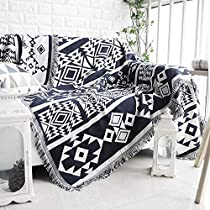 Double Sided Multi-Function Sofa Chair Tapestry Throw Couch Blanket with Decorative Tassels,Wall Art Tapestry for Living Room Bedroom Decor,Dark Blue Royal Collection,51X70 Inch/127x178 cm