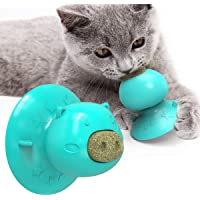 Catnip Ball with Suction Cup, Edible Kitty Toys for Cats Lick, Safe Healthy Mint Kitten Toys, Teeth Cleaning Dental Cat Toy, Cat Wall Treats, Excites Your Feline, Improves Appetite and Digest (Blue)