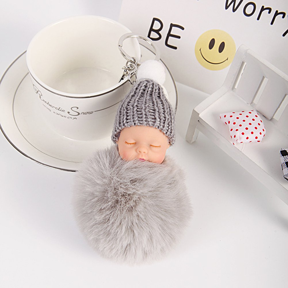 Amazon.com: Colorido Cute Sleeping Baby Plush Faux Fur Ball Handbag Charm Pendant Car Keychain size Medium (Black): Clothing