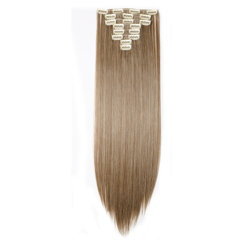 Clip in Hair Extensions Synthetic Full Head Charming Hairpieces Thick Long Straight 8pcs 18clips for Women Girls Lady (23 inches-straight, ash brown mix bleach blonde)