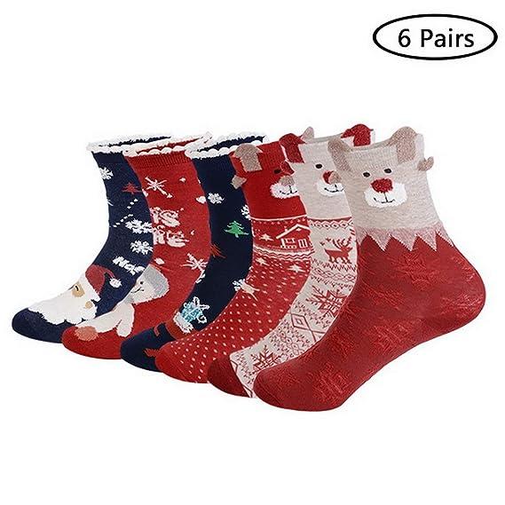 laamei Calcetines de Navidad para Mujeres, 6 Pares de Calcetines Medias Navideñas de Algodón de Mujer Calcetines Térmicos Altos de Estilo Navideño Regalos ...
