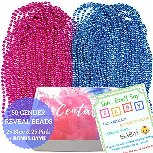 50 Gender Reveal Beads Necklaces 7mm plus Game - Large 7mm - 33'' Premium Blue and Pink Beads Necklaces with Don't Say Baby Gender Reveal/Baby Shower Game Set ()