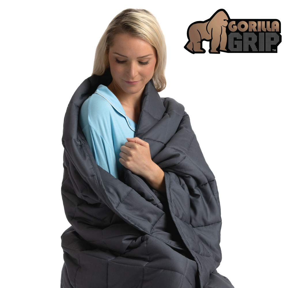 Gorilla Grip Premium Weighted Blanket, 48x36 Size, 7 Lbs Weight, Recommended for Children Weighing 70 Lbs and Up, Oeko Tex Certified, Luxury Cotton, Glass Beads, Soft Comforting Throw for Kids, Gray by Gorilla Grip