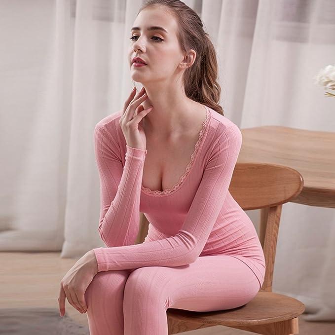 YiLianDa Mujer Cuello Redondo Encaje Conjunto Termico Chaqueta & Pantalones Larga Ropa Interior Conjunto De Pijama