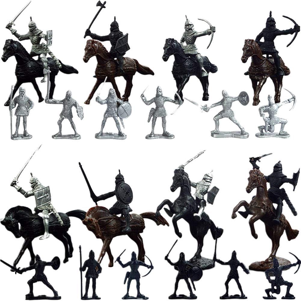 vap26 28 Piezas Soldado Medieval Modelo Caballeros Caballos Jugar Figuras niños Juguete Educativo