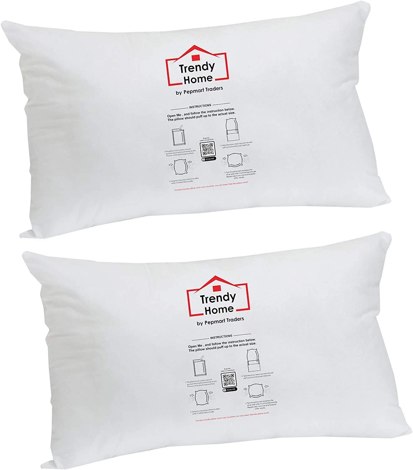 Trendy Home 12x18 Premium Hypoallergenic Stuffer Home Office Decorative Throw Pillow Insert, Standard/White 12x18(2pack)