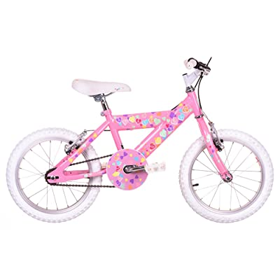 Sunbeam Heartz Fille enfants Vélo Rose, 25,4cm inch Cadre en acier, 1Speed Résine V-Brake Aluminium/aluminium leviers de frein