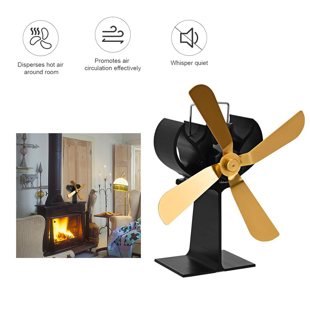 cheerfulus Heat Powered Fireplace Fan 4 Gold Blade Stove Fan Eco Friendly Silent Efficient Fan Heat Circulation for Fireplaces Wood/Log Burner