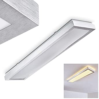 LED Deckenleuchte Wutach, rechteckige Deckenlampe aus Metall in Alu ...