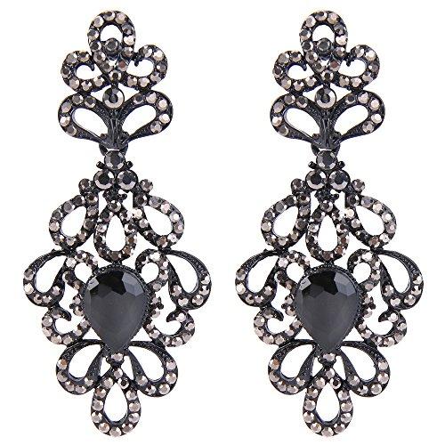BriLove Women's Wedding Bridal Dangle Earrings Vintage Style Floral Hollow Crystal Teardrop Chandelier Earrings Black ()