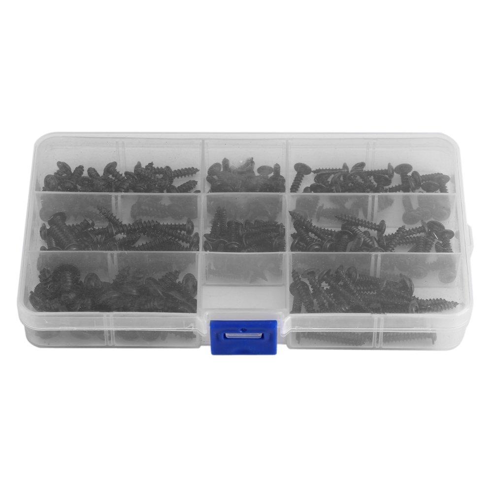 Kit de surtido de tornillos autorroscantes redondos negros de acero inoxidable 200Pcs con caja transparente