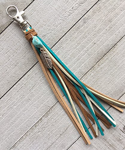 Tassel Bag Charm Key Chain – Boho Handmade Faux Suede Tassel with Turquoise Howlite Nugget and Feather Charm