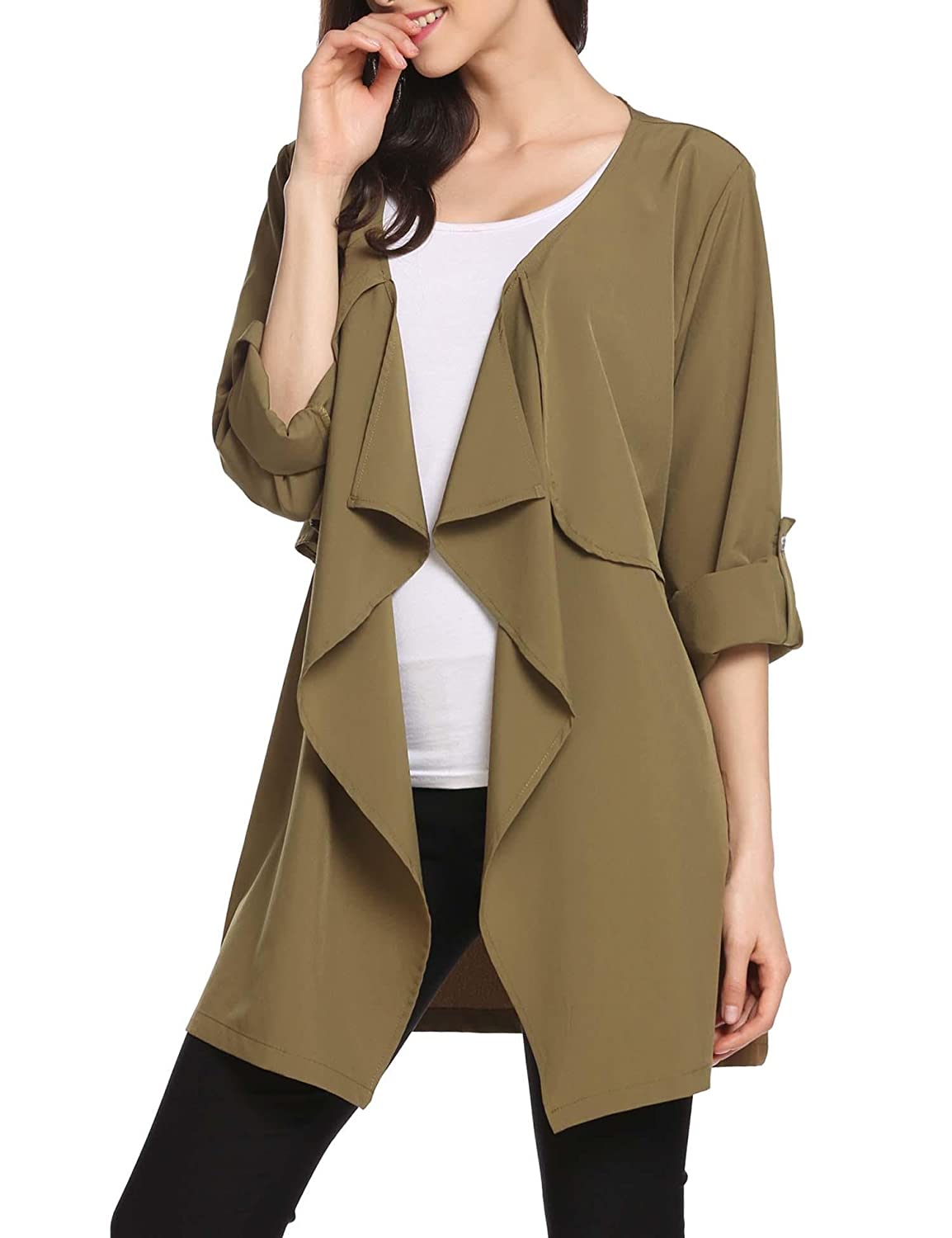 Beyove Womens Casual Open Front Cardigan Trench Coat Jacket with Pocket