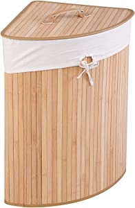 GOFLAME Corner Bamboo Laundry Hamper with Lid and Removable Liner, Washing Clothes Basket Storage Bin with Handle, Suitable for Bedroom, Bathroom, Laundry (Natural)